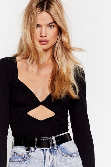 Black Cut It Out V-Neck High-Leg Bodysuit