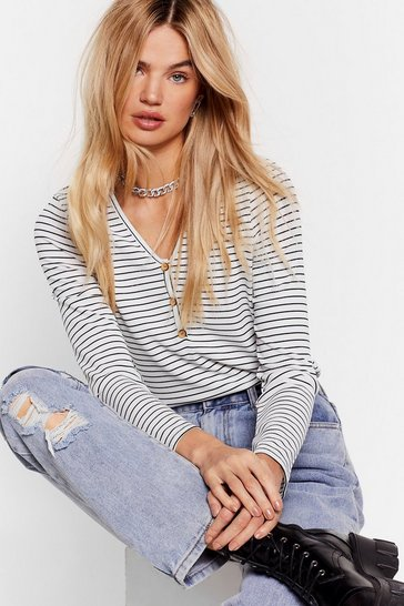White Button Front Placket Long Sleeve Top