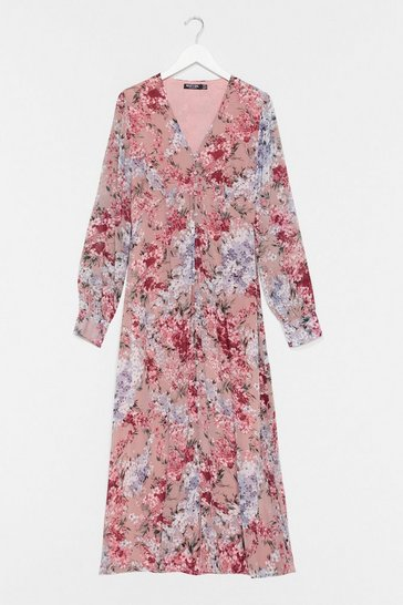 Pink Bud Thinking Floral Maxi Dress