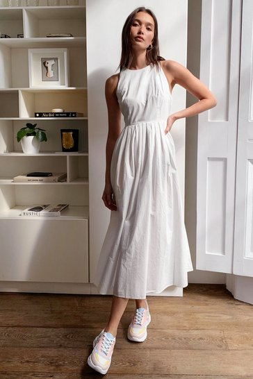 White Pleat Racer Neck Midi Dress