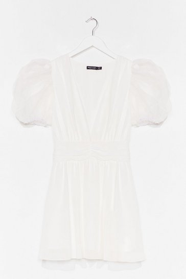 White Moving Chiffon Puff Sleeve Mini Dress