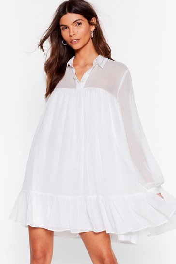 White Sheer and Now Chiffon Mini Dress