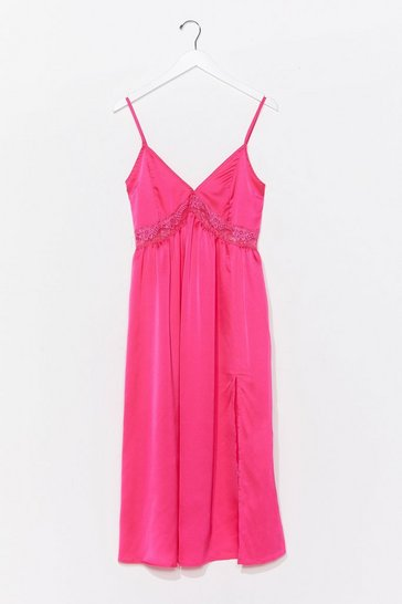 Hot pink Dream a Little Dream Satin Midi Dress