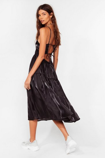Black Tierred Open Back Tent Dress