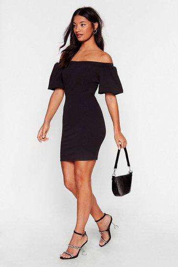 Black Call It Off-the-Shoulder Puff Sleeve Mini Dress