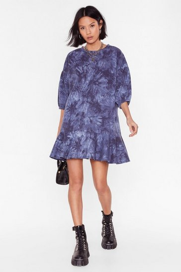Navy Turn a Blind Tie Dye Mini Dress