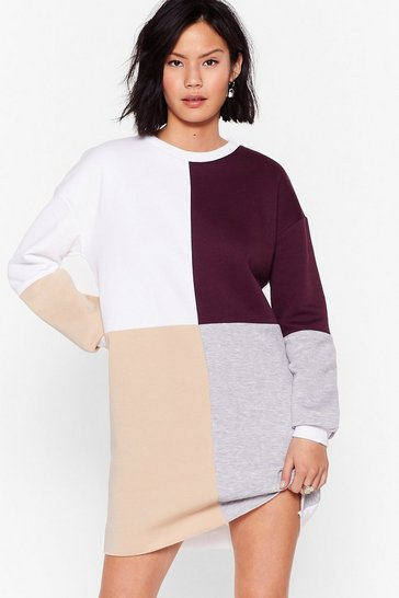 Stone Colorblock You Out Sweatshirt Dress