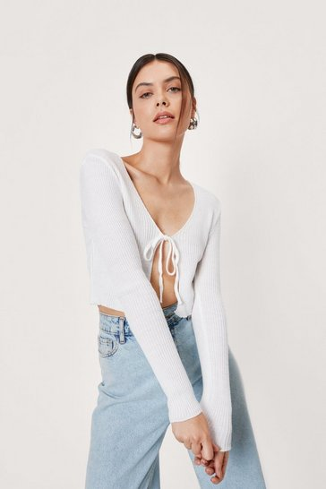 Optic white We All Love a Tie-r Ribbed Cropped Cardigan