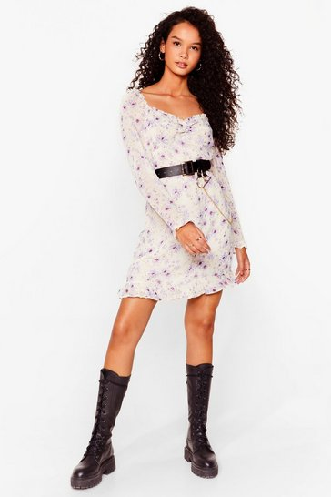 Lilac Floral Square Neck Dress