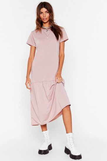 Mink Leave Hem Behind Smock Midi Dress