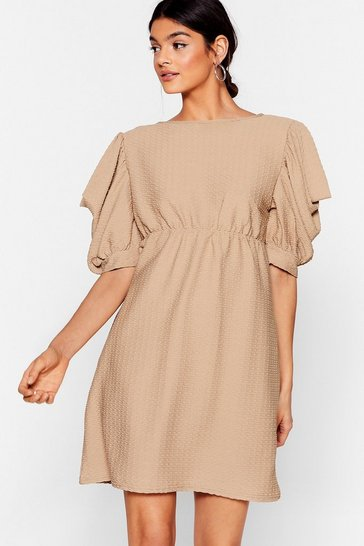 Camel Texture From You Ex Puff Sleeve Mini Dress