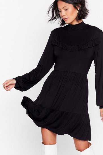 Black Tier Comes Another Day Ruffle Mini Dress