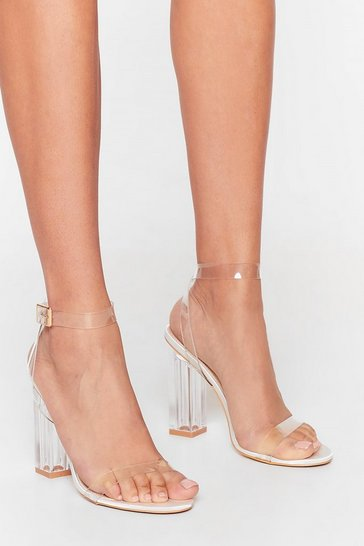 White Let's Be Clear Satin Heels