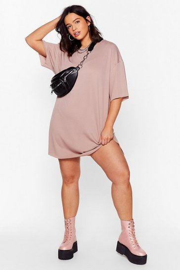 Pink It's All About Tee Plus Ribbed Dress