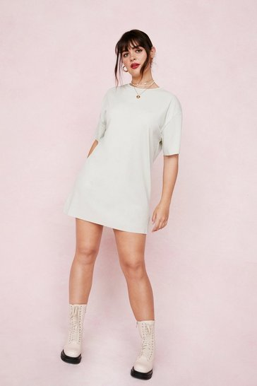 Sage Plus Size Ribbed T-Shirt Dress