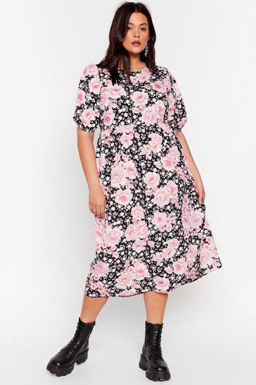 Black Rock the Bloom Plus Midi Dress