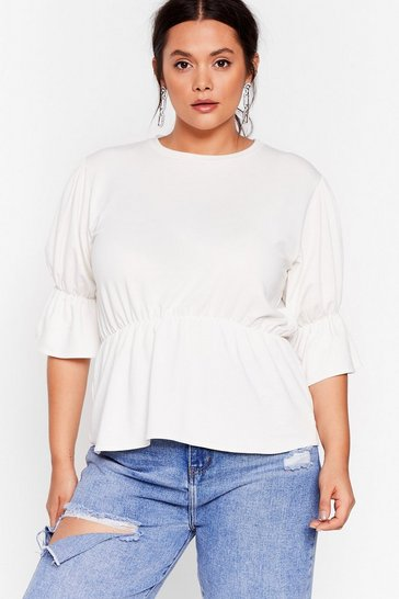 Lily white Top of Your Game Plus Ruffle Top