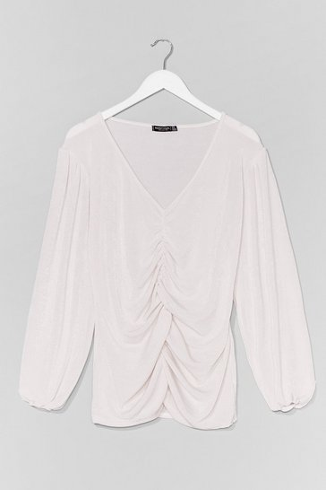 White Plus Size Ruched V Neck Top