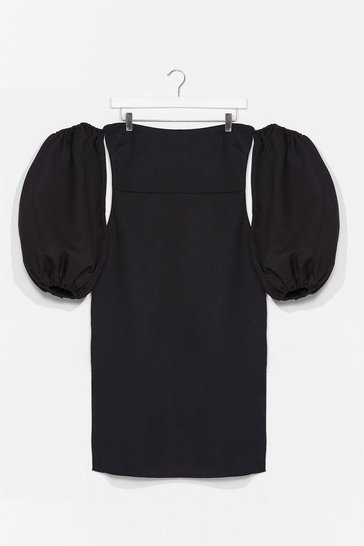 Black Coming Balloon Sleeve Midi Dress