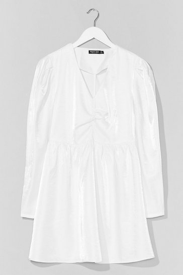 White  Taffeta Puff Sleeve Mini Smock Dress