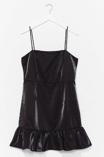 Black Sheen It All Before Ruffle Mini Dress