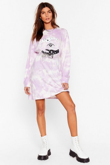Lilac Eye'll Hand It to You Tie Dye Graphic Dress