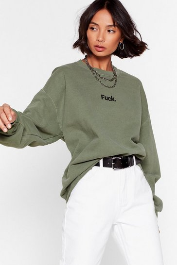 Olive Ah Fuck Cropped Graphic Sweatshirt