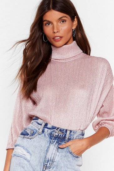 Pink Such a High Roller Metallic Turtleneck Blouse