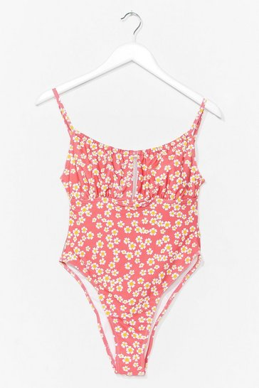 Pink Growin' on Vacay Floral High-Leg Swimsuit