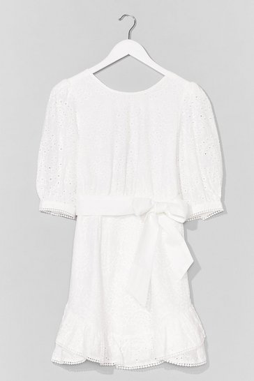 Broderie Wrap Dress , White