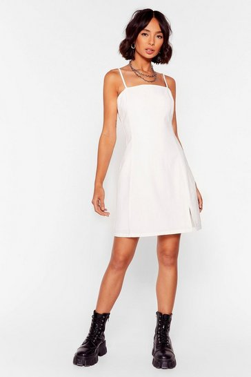 White It's Not Square Linen Mini Dress