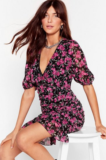 Purple Ruched Floral Puff Sleeve Mini Dress