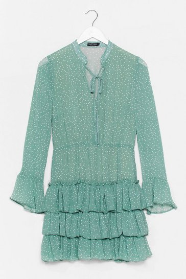 Sage Polka Dot Tiered Ruffle Flowy Dress