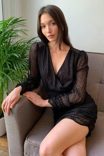 Black Quit Ruchin' Spotty Mini Dress