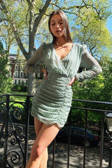 Sage Quit Ruchin' Spotty Mini Dress