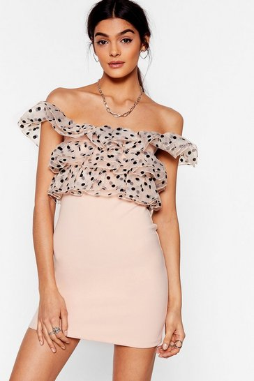 Blush So Spot Right Now Off-the-Shoulder Mini Dress