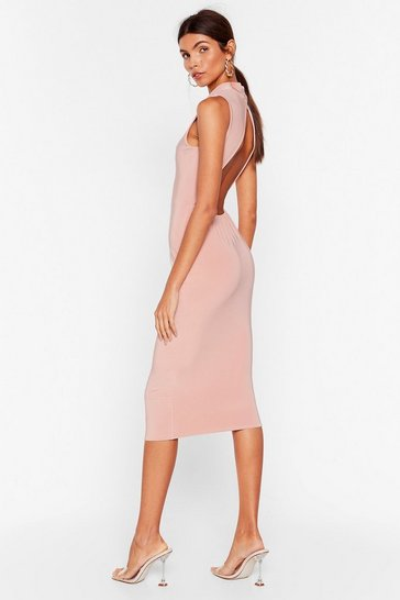 Dusty rose  Forget What They Slink Open Back Midi Dress