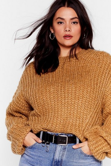 Camel Knit Back and Wait Plus Balloon Sleeve Sweater