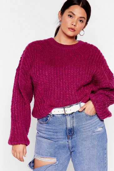 Fushia Knit Back and Wait Plus Balloon Sleeve Sweater