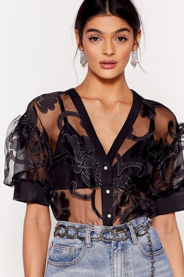 Black Organza Button Front Sheer Blouse