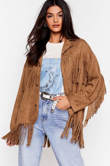 Camel Swing By Faux Suede Fringe Jacket