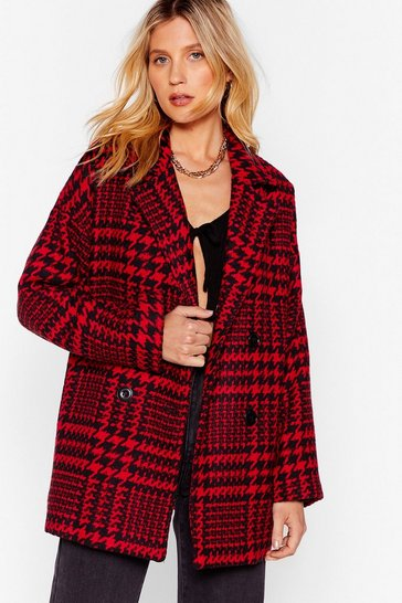 Red Wool Out All the Stops Houndstooth Jacket