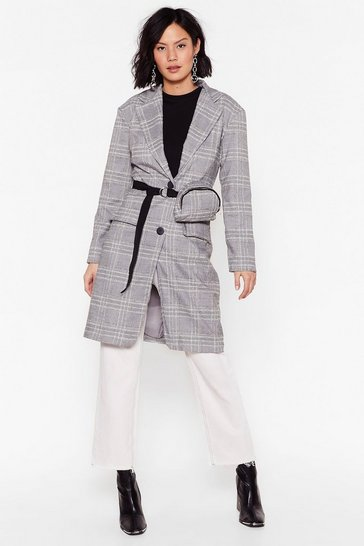 Grey Check My Style Longline Blazer and Fanny Pack Set