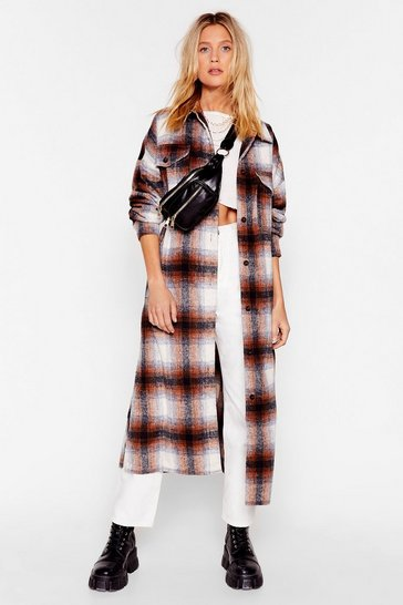Camel In Check Longline Coat