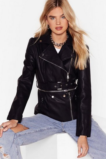 Black Till We Get Zip Right Faux Leather Jacket