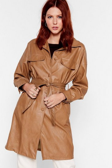 Camel Love Faux Leather Fails Longline Belted Jacket