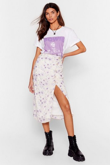 Lilac Growing You Off Floral Midi Skirt