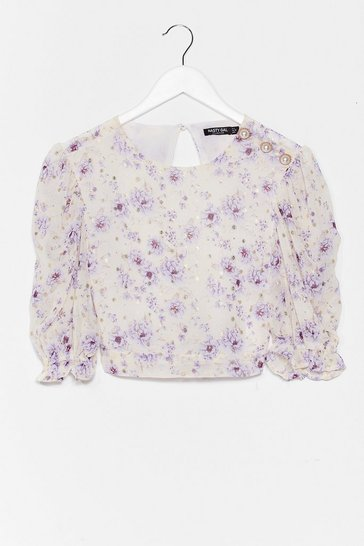 Lilac Growing You Off Puff Sleeve Crop Top
