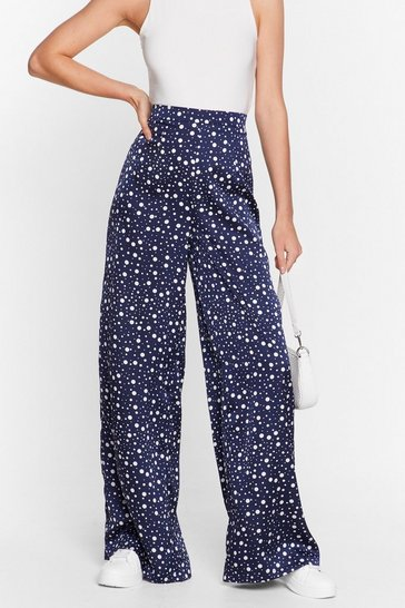 Navy Dot's On the Agenda Satin Wide-Leg Pants