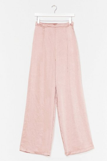 Rose Take It in Your Stride Wide-Leg Satin Pants